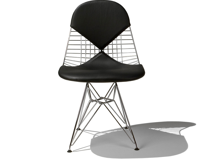 eames wire chair with bikini pad