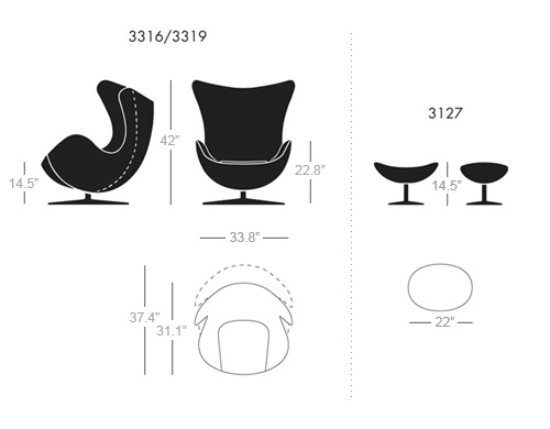 overview arne jacobsen egg chair leather black