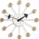 george nelson ball clock in natural beech  -