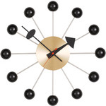 george nelson ball clock in black & brass  -