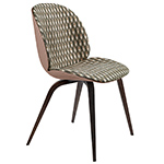 beetle front upholstered dining chair with wood base  -