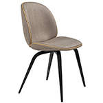 beetle upholstered dining chair with wood base  -