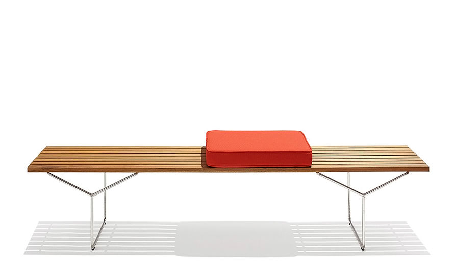 bertoia bench with 3 seat cushions