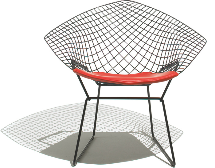 bertoia small diamond chair with seat cushion - hivemodern