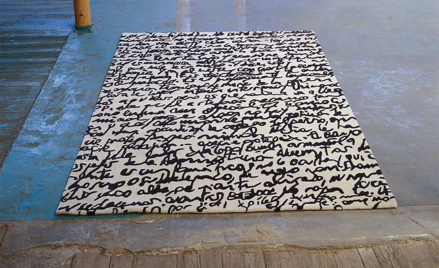 black and white collection manuscrit rug