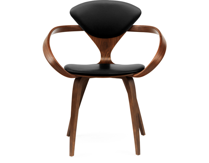 cherner arm chair with upholstered seat & back