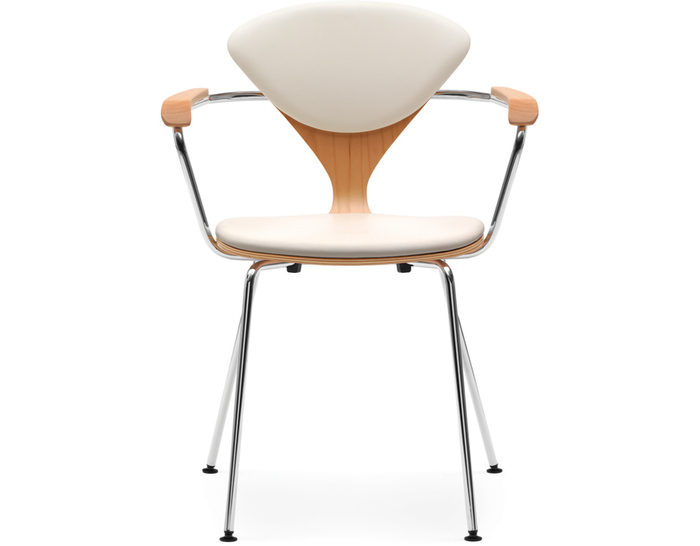cherner metal leg arm chair with upholstered seat & back