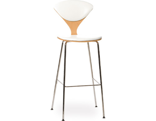 cherner metal leg stool with upholstered seat & back