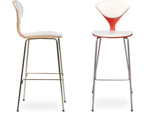 Cherner Metal Leg Stool With Upholstered Seat Amp Back