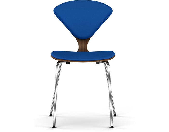 cherner metal leg side chair with upholstered seat & back