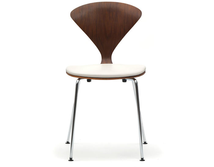 cherner metal leg side chair with upholstered seat