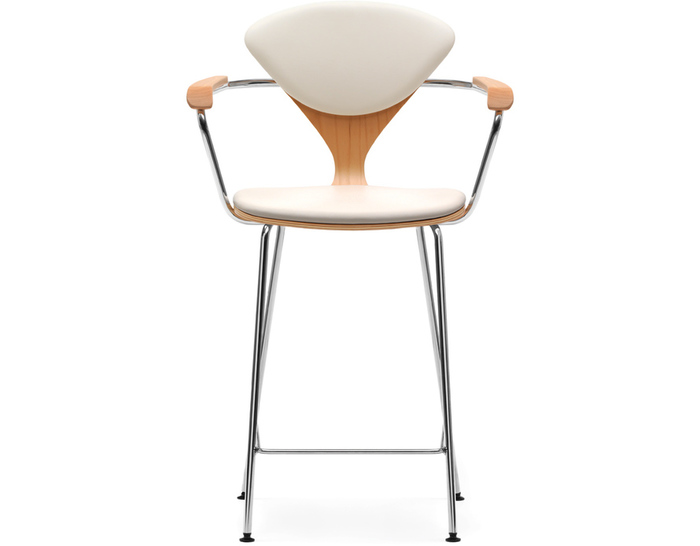 cherner metal leg stool with arms & upholstered seat & back