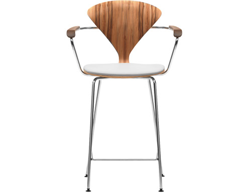 cherner metal leg stool with arms & upholstered seat