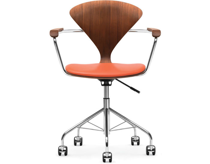 cherner task arm chair with upholstered seat