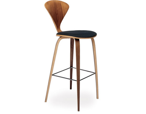 Cherner Wood Leg Stool With Upholstered Seat Hivemodern Com