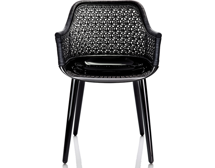 cyborg elegant armchair with wicker back