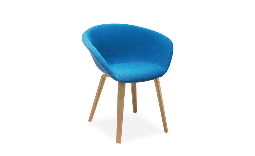 duna 02 wood leg chair with full upholstery
