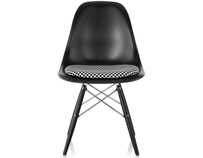 eames® dowel base wood side chair with seat pad