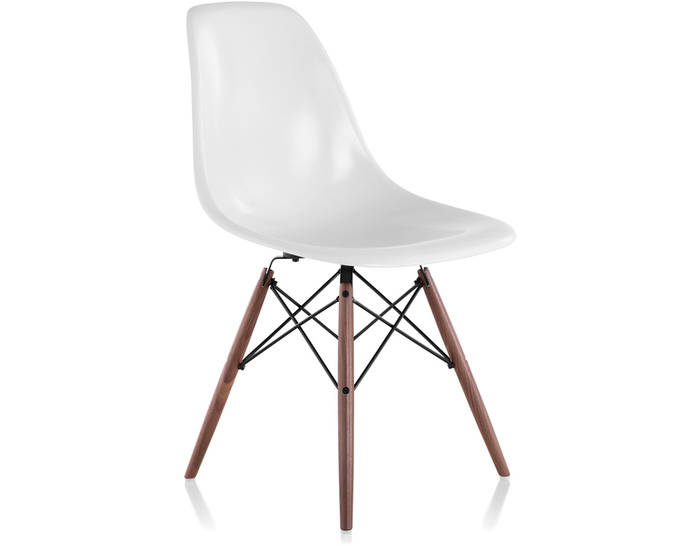 eames® molded fiberglass side chair with dowel base