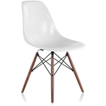 eames® molded fiberglass side chair with dowel base  -
