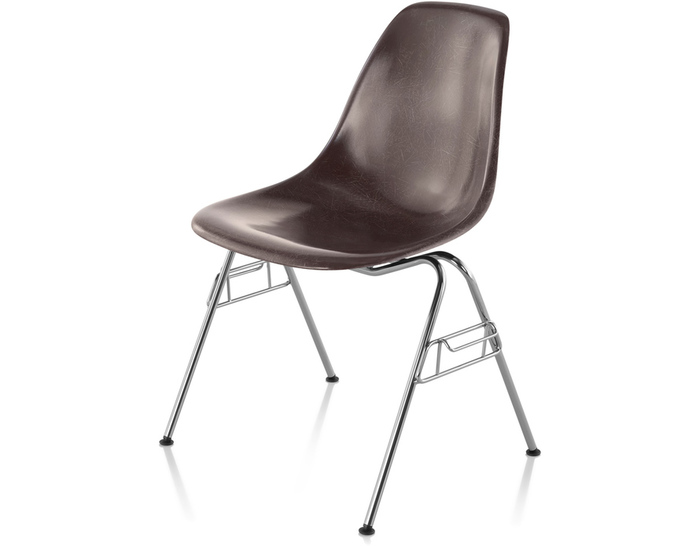 eames® molded fiberglass side chair with stacking base