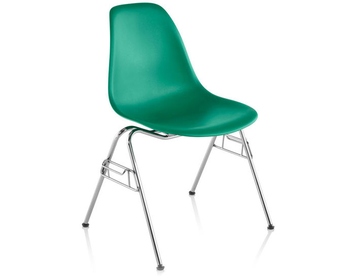 eames® molded plastic side chair with stacking base