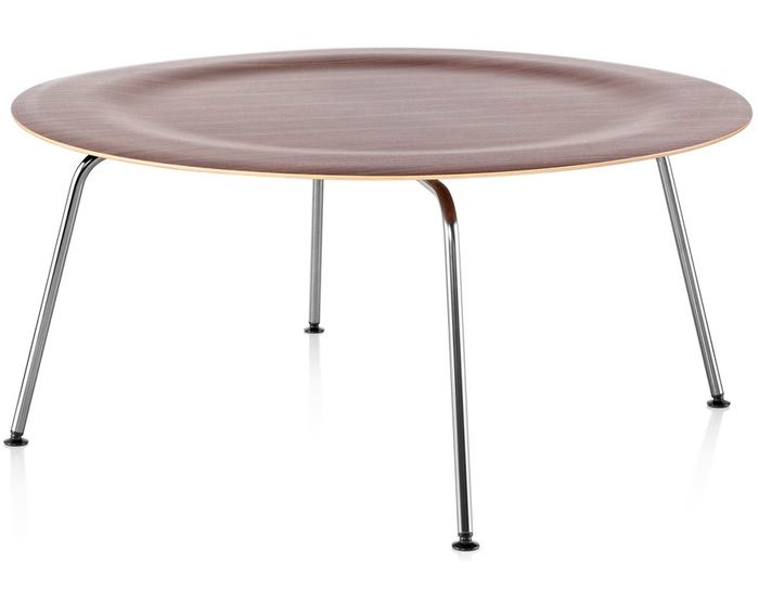 eames® molded plywood coffee table with metal base