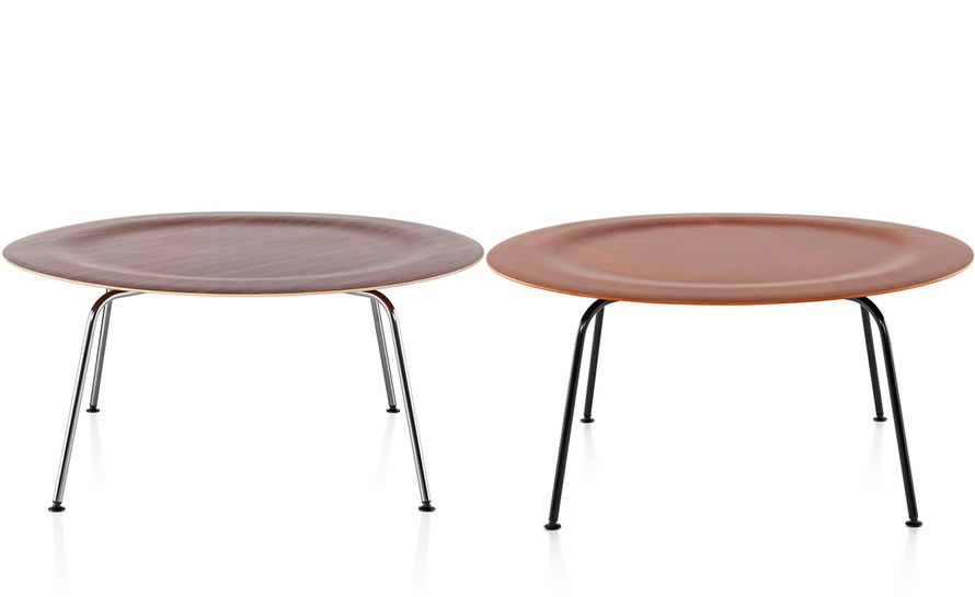 Eames molded plywood coffee table with metal base for Metal coffee table base