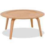 eames® molded plywood coffee table with wood base  -
