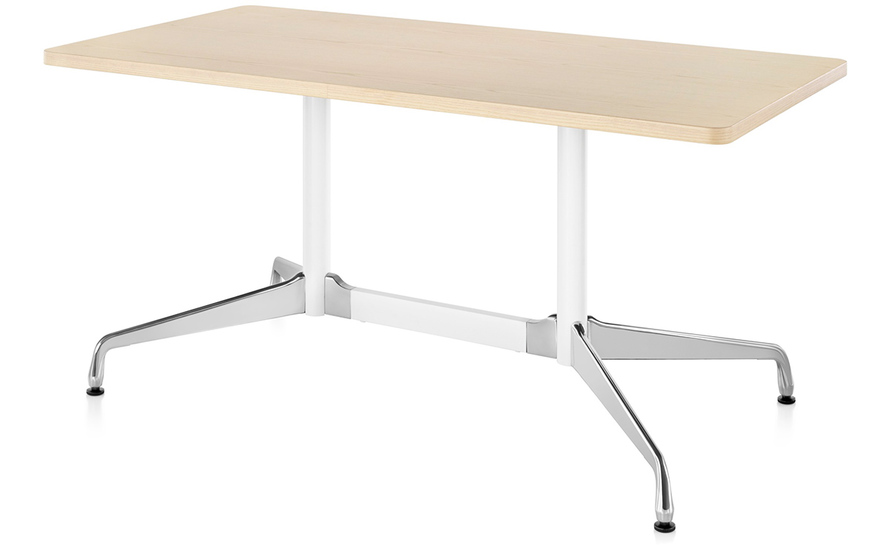 eames rectangular table with veneer top & edge