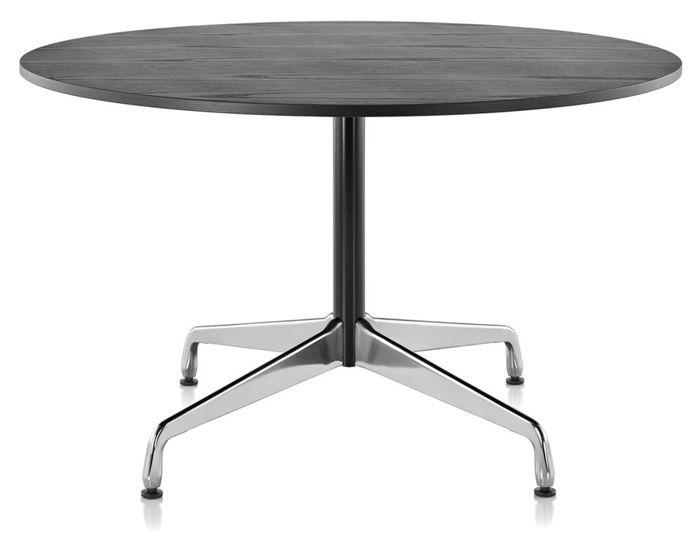 eames round table with veneer top/vinyl edge