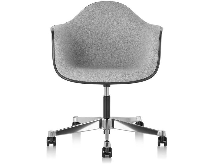 eames® upholstered armchair with task base