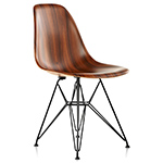 eames® molded wood side chair with wire base  -