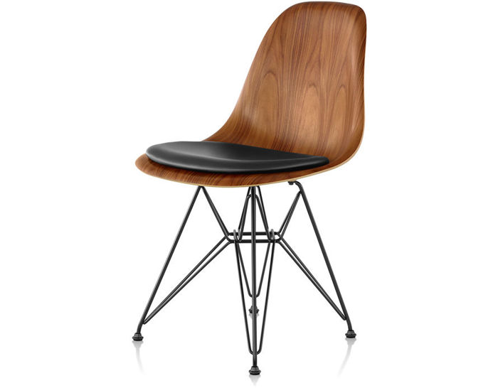 eames® wire base wood side chair with seat pad