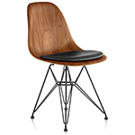eames® wire base wood side chair with seat pad  -
