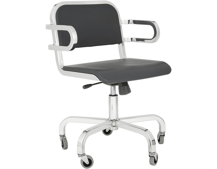 emeco nine-0 task swivel armchair