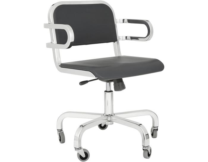 emeco nine-0 task swivel armchair