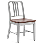 emeco navy chair with wood seat  -