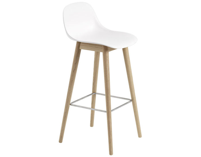 fiber stool with backrest and wood base