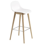 fiber stool with backrest and wood base  - muuto