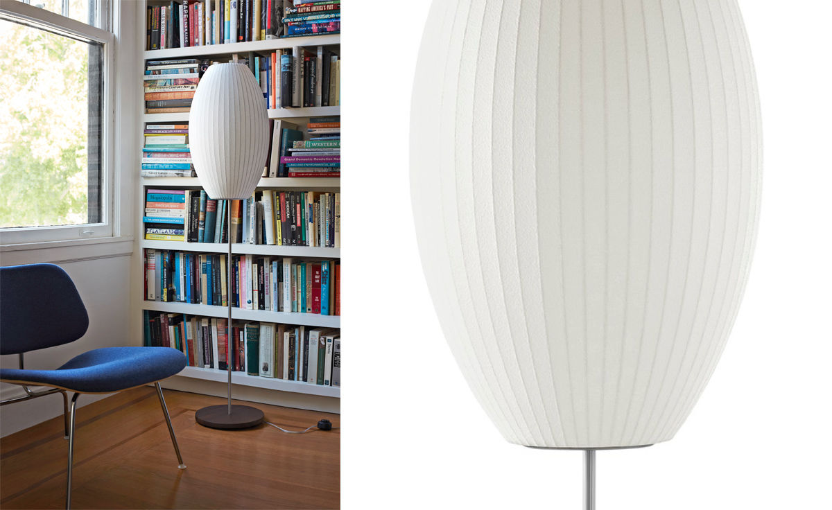 Nelson Cigar Bubble Floor Lamp On Lotus Stand