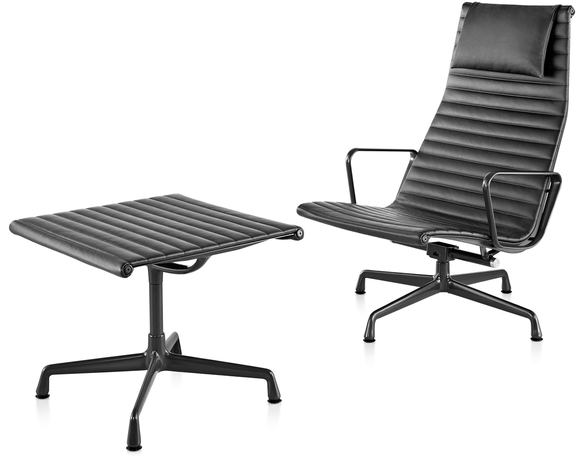 Eames Soft Pad Lounge Chair eames® aluminum group lounge chair & ottoman - hivemodern