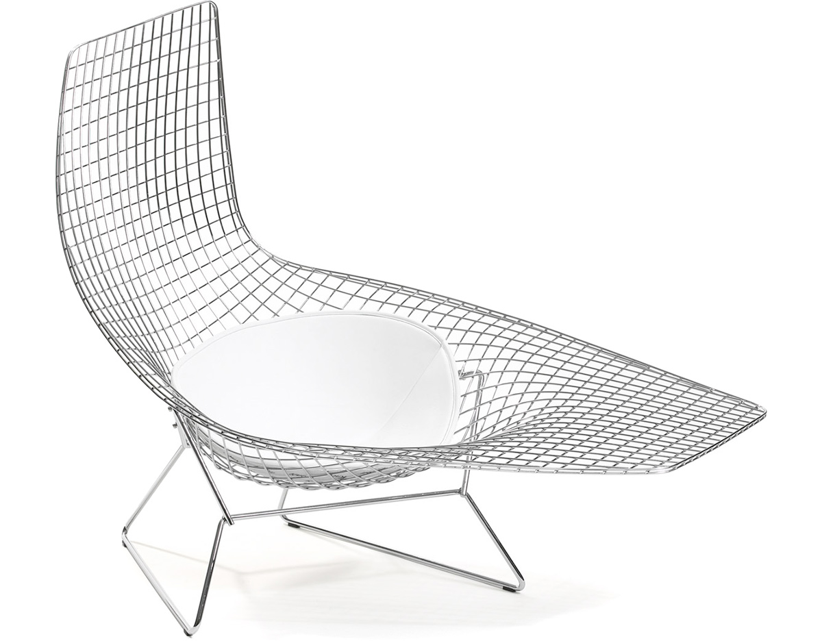Asymmetric chaise lounge with seat cushion for Bertoia asymmetric chaise