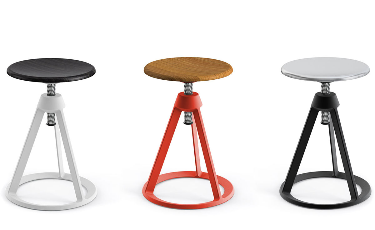 barber osgerby piton adjustable stool. Black Bedroom Furniture Sets. Home Design Ideas