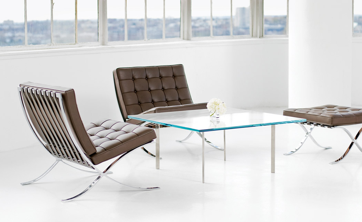 Barcelona chair chrome plated - Barcelona table knoll ...