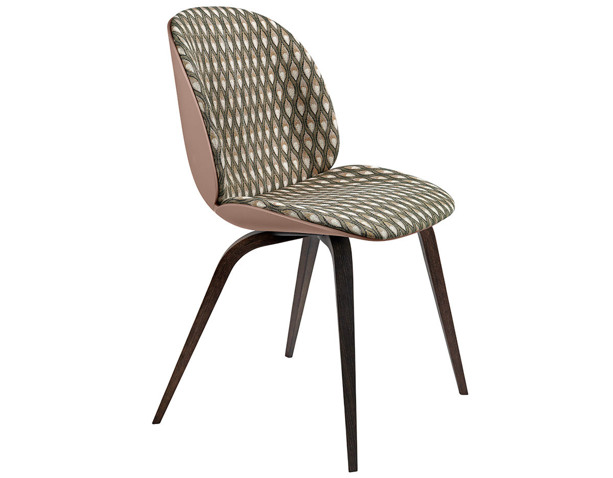 Wood Base Chairs ~ Beetle front upholstered dining chair with wood base