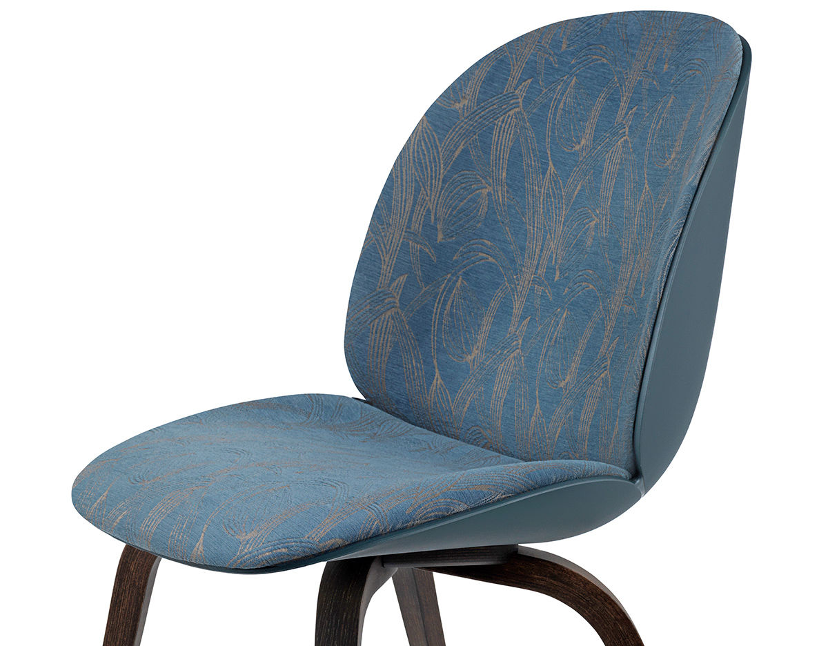 Beetle Front Upholstered Dining Chair With Wood Base