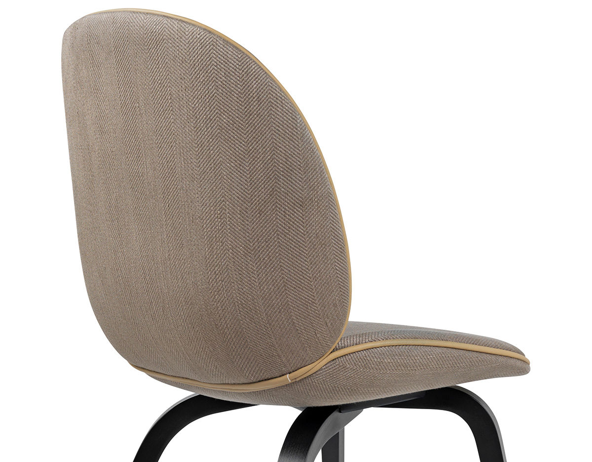 Beetle Upholstered Dining Chair With Wood Base