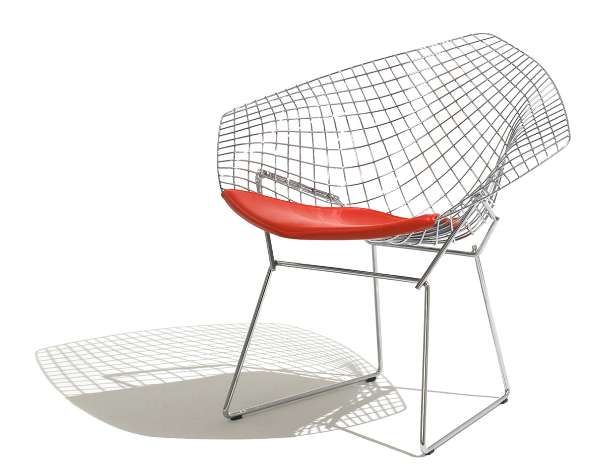 Metal outdoor furniture - Bertoia Small Diamond Chair With Seat Cushion Hivemodern Com