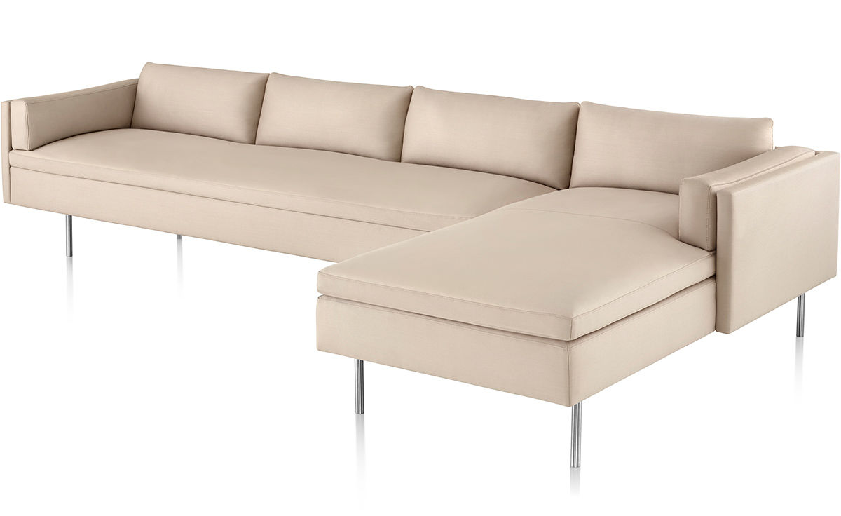 Bolster 3 seat sofa with chaise - Chaise herman miller ...